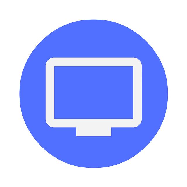 bílé logo monitoru v modrém kruhu